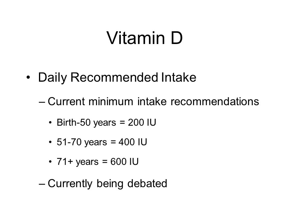 Vitamin D Daily Recommended Intake