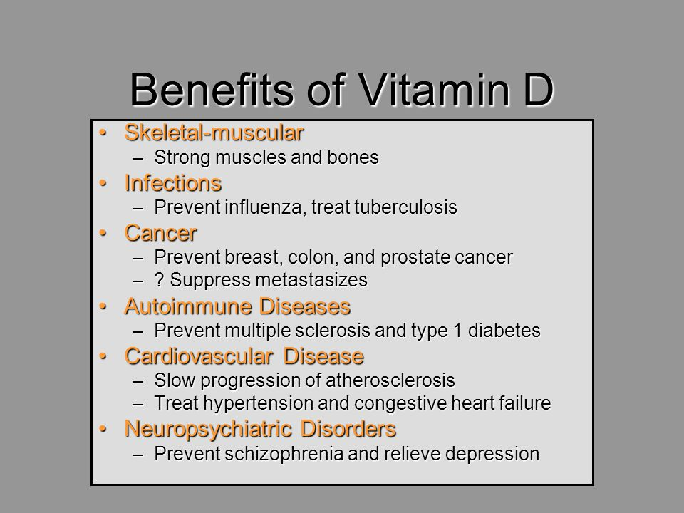 Benefits of Vitamin D Skeletal-muscular Infections Cancer