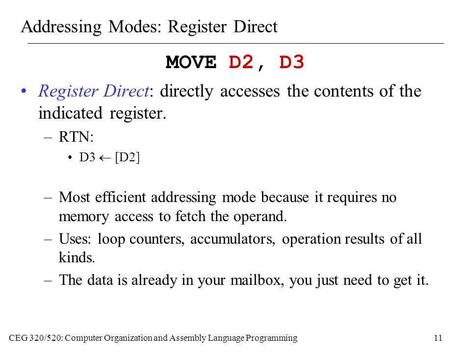 Addressing Modes: Register Direct