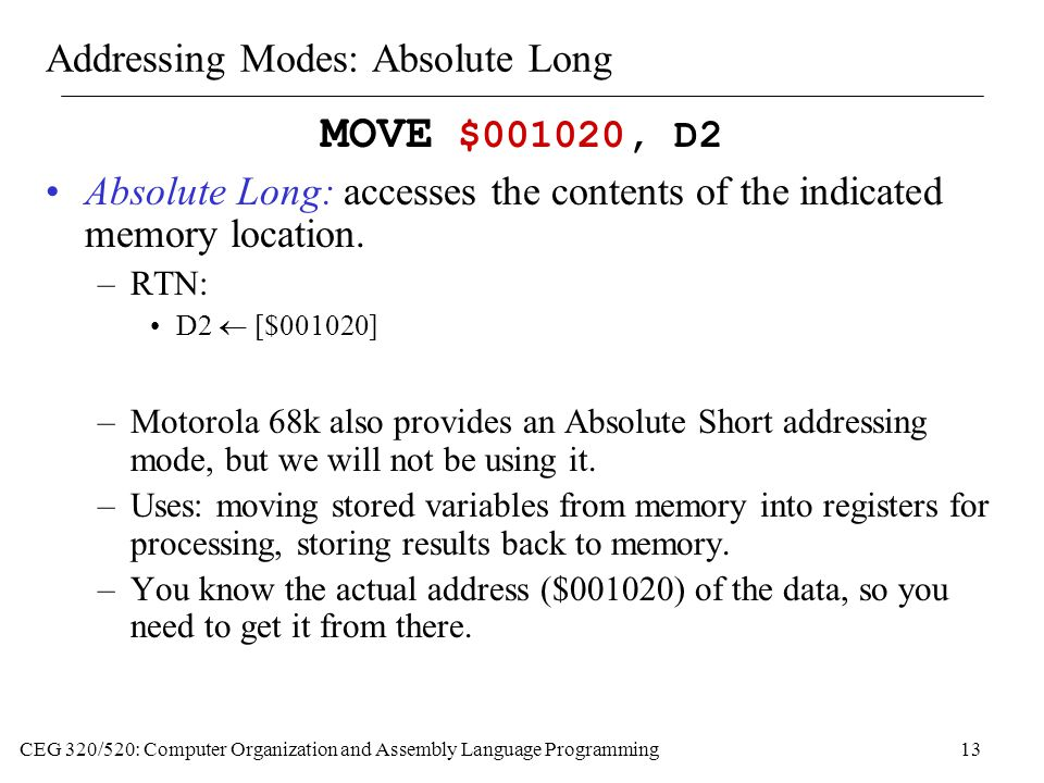 Addressing Modes: Absolute Long
