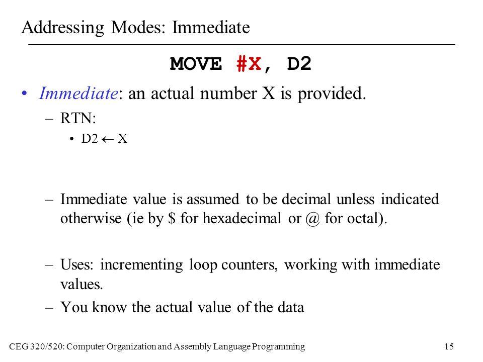 Addressing Modes: Immediate