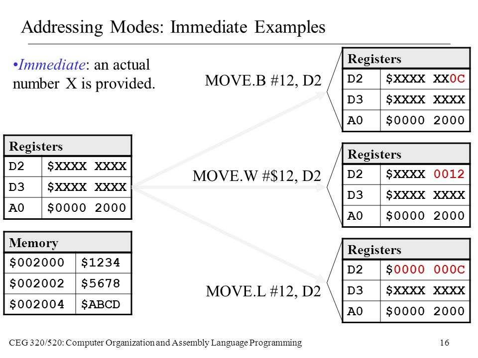 Addressing Modes: Immediate Examples