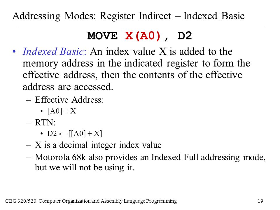 Addressing Modes: Register Indirect – Indexed Basic