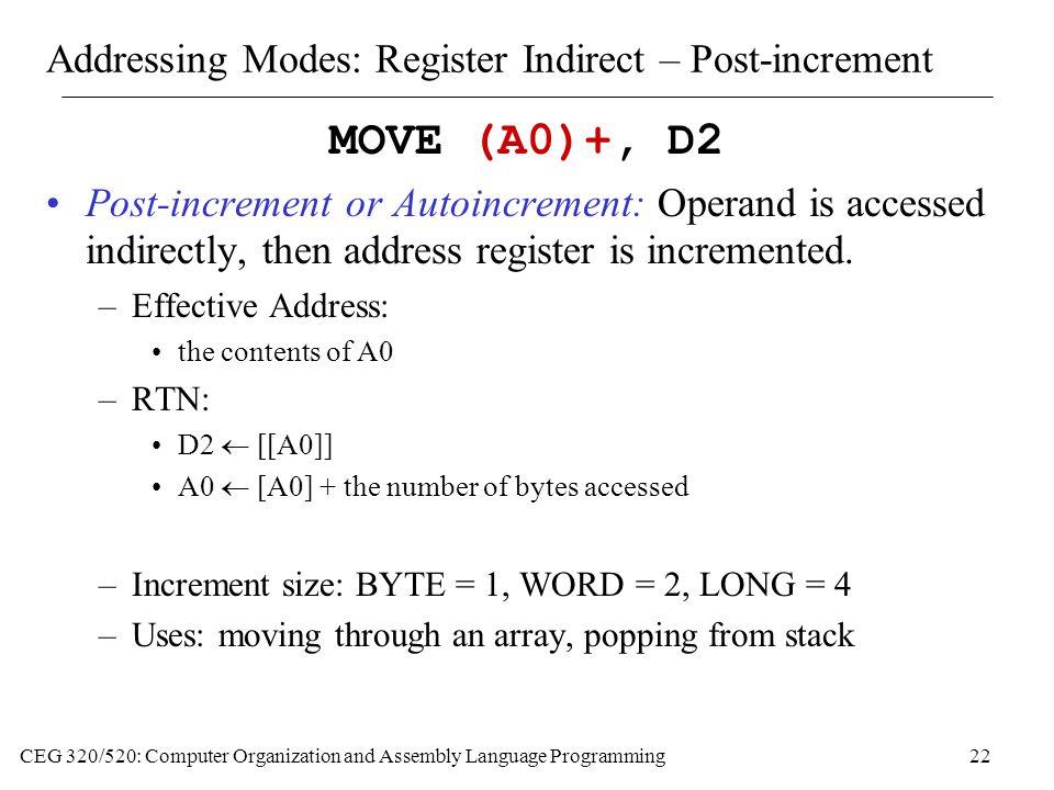 Addressing Modes: Register Indirect – Post-increment