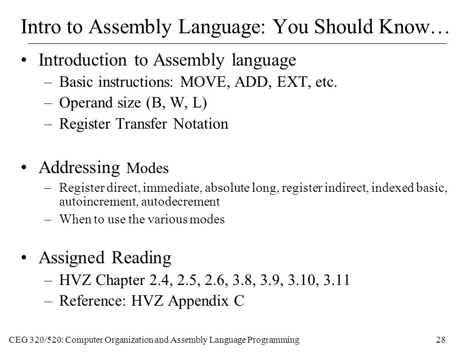 Intro to Assembly Language: You Should Know…