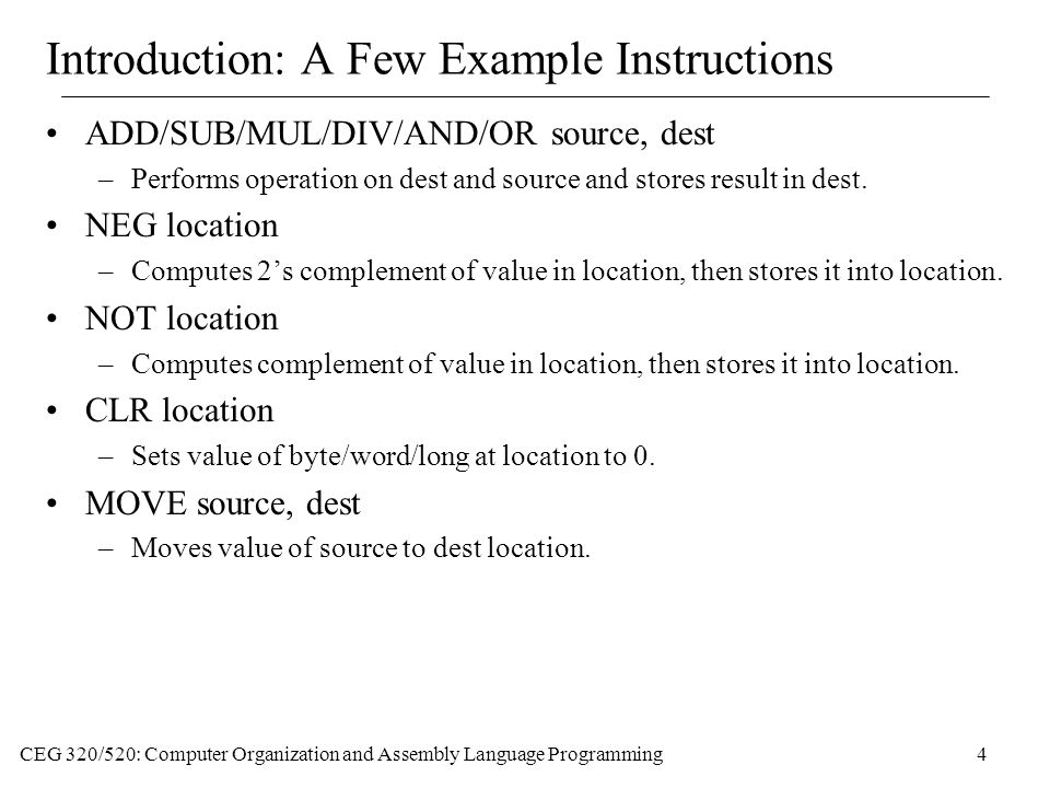Introduction: A Few Example Instructions
