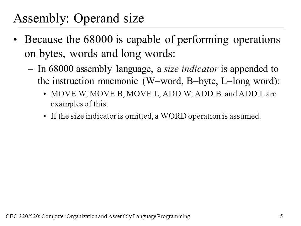 Assembly: Operand size