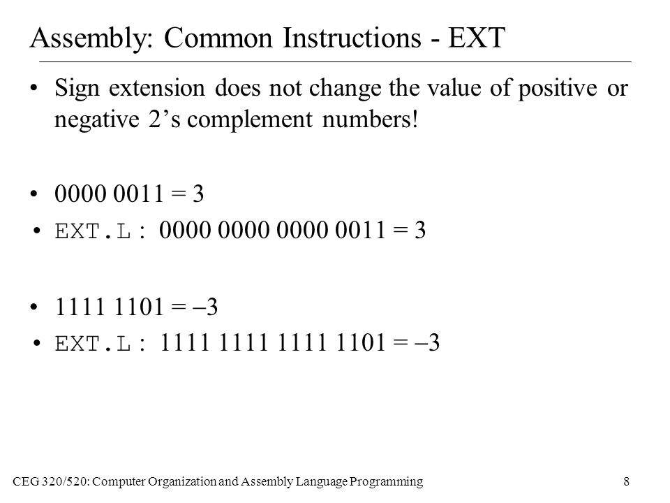 Assembly: Common Instructions - EXT