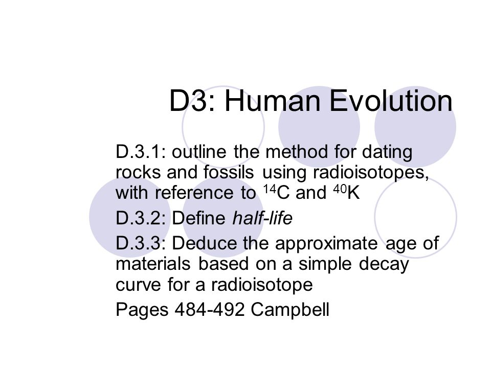 d 3 1 outline the method for dating rocks and fossils