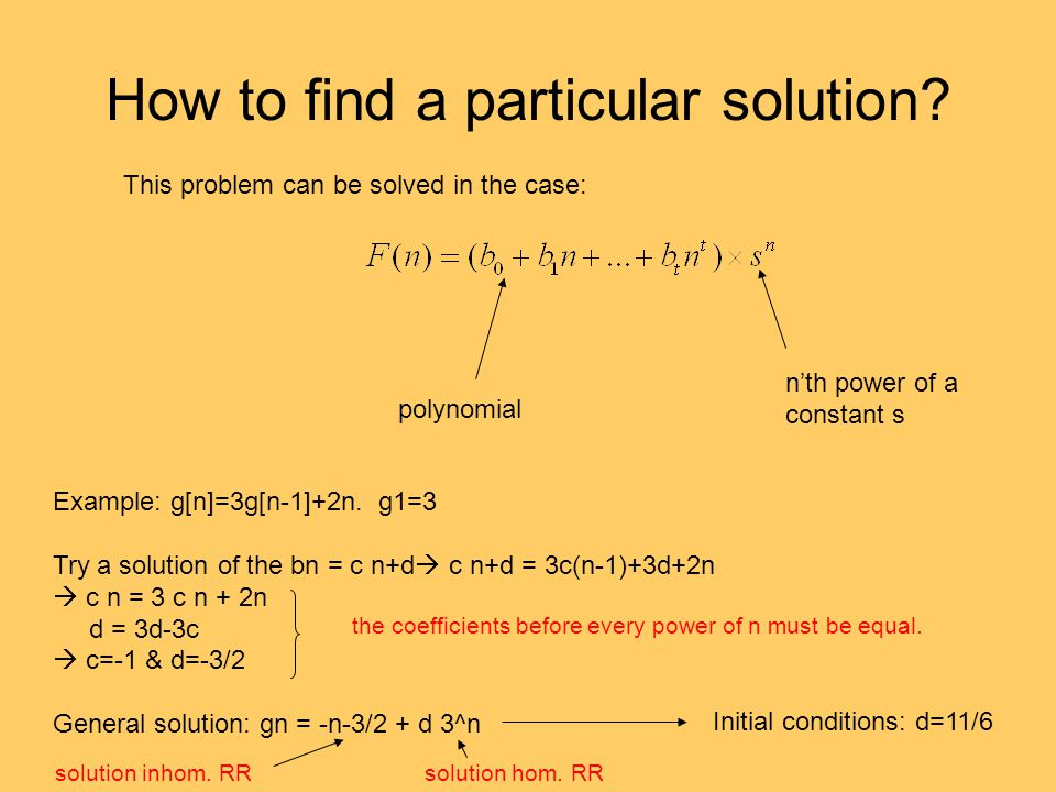 How to find a particular solution