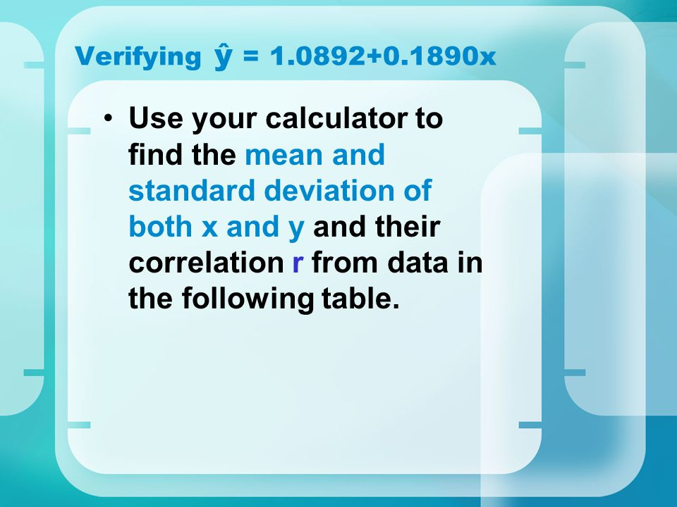 Verifying ŷ = 1.0892+0.1890x
