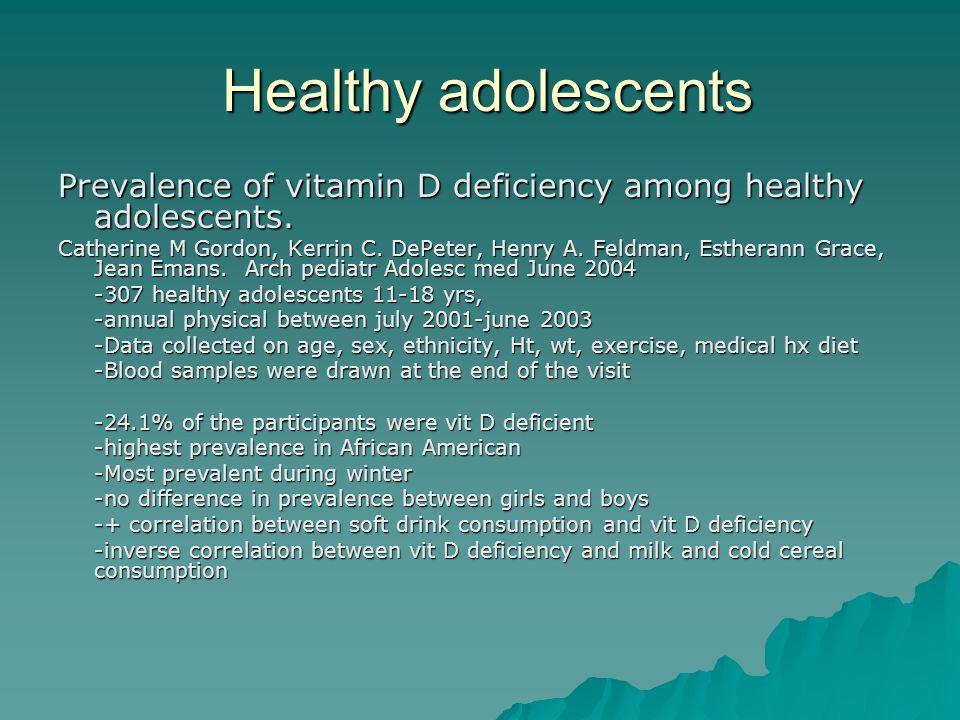 Healthy adolescents Prevalence of vitamin D deficiency among healthy adolescents.