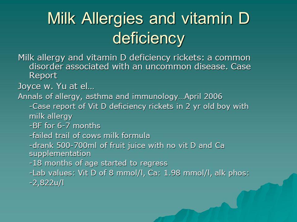 Milk Allergies and vitamin D deficiency