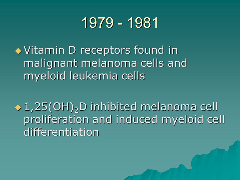 1979 - 1981 Vitamin D receptors found in malignant melanoma cells and myeloid leukemia cells.