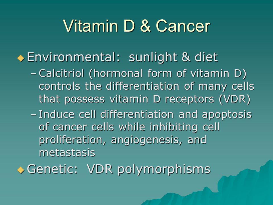 Vitamin D & Cancer Environmental: sunlight & diet