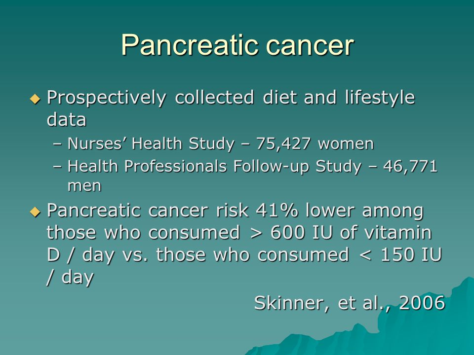 Pancreatic cancer Prospectively collected diet and lifestyle data