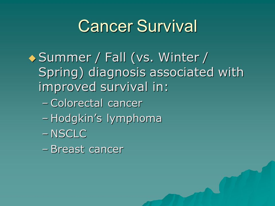 Cancer Survival Summer / Fall (vs. Winter / Spring) diagnosis associated with improved survival in: