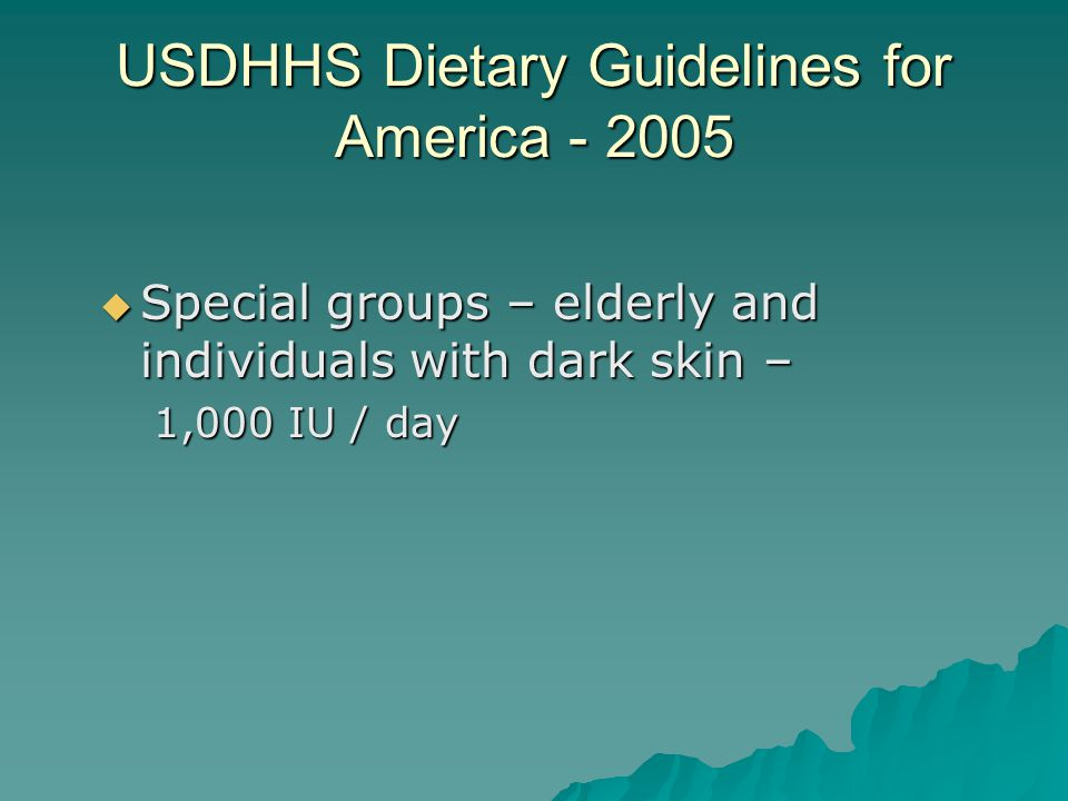 USDHHS Dietary Guidelines for America - 2005