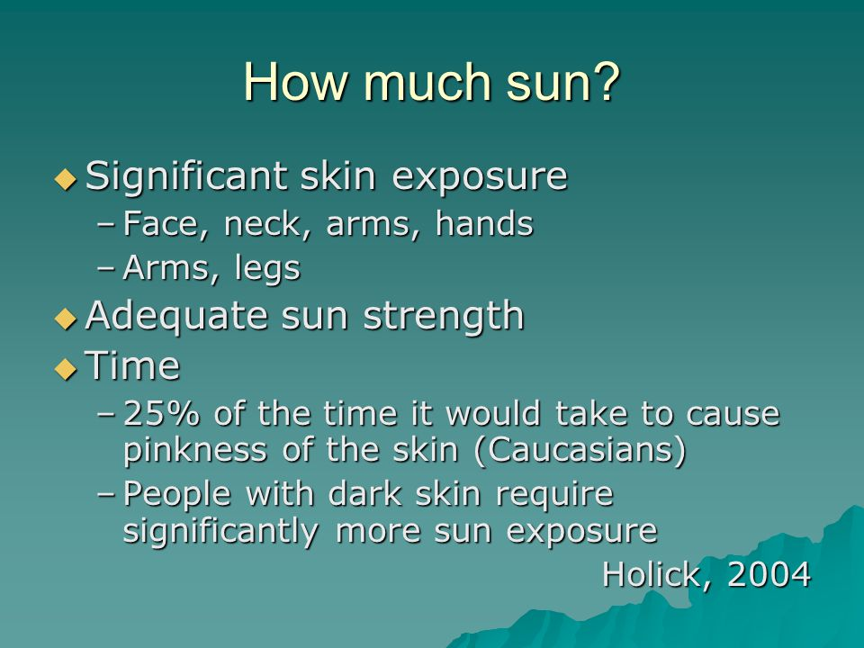 How much sun Significant skin exposure Adequate sun strength Time
