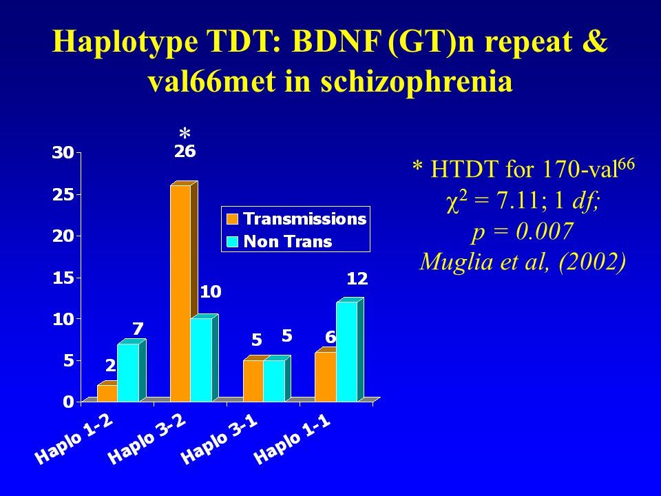 Haplotype TDT: BDNF (GT)n repeat & val66met in schizophrenia