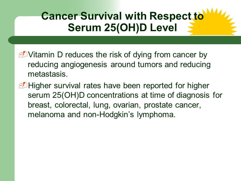 Cancer Survival with Respect to Serum 25(OH)D Level