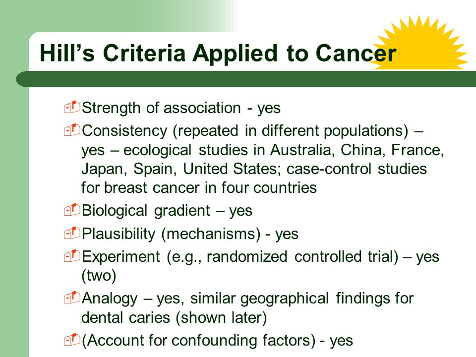 Hill's Criteria Applied to Cancer