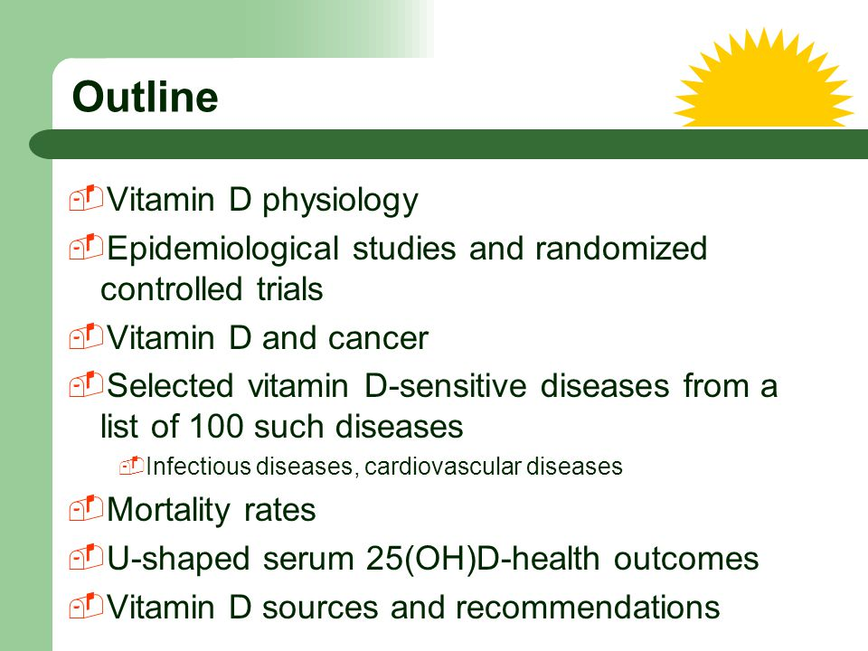 Outline Vitamin D physiology