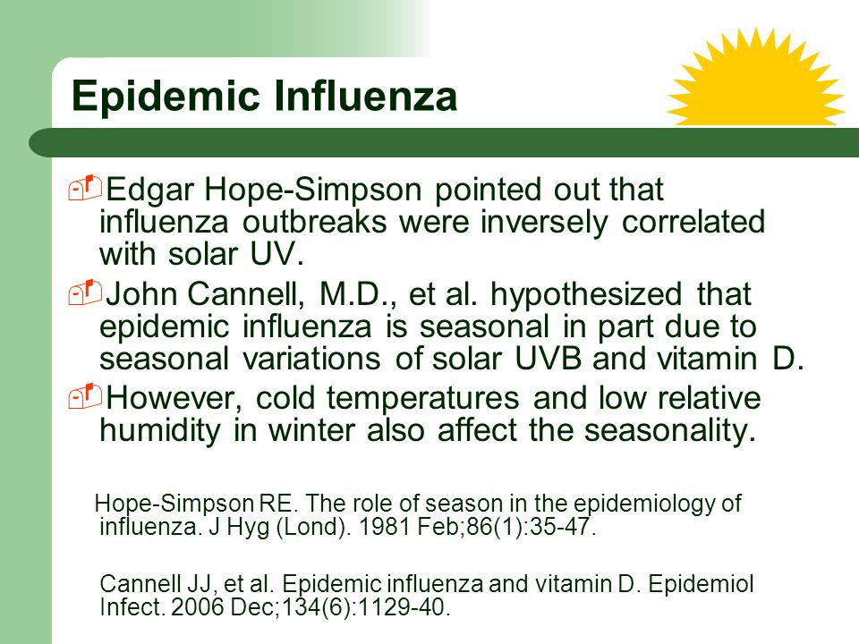 Epidemic Influenza Edgar Hope-Simpson pointed out that influenza outbreaks were inversely correlated with solar UV.