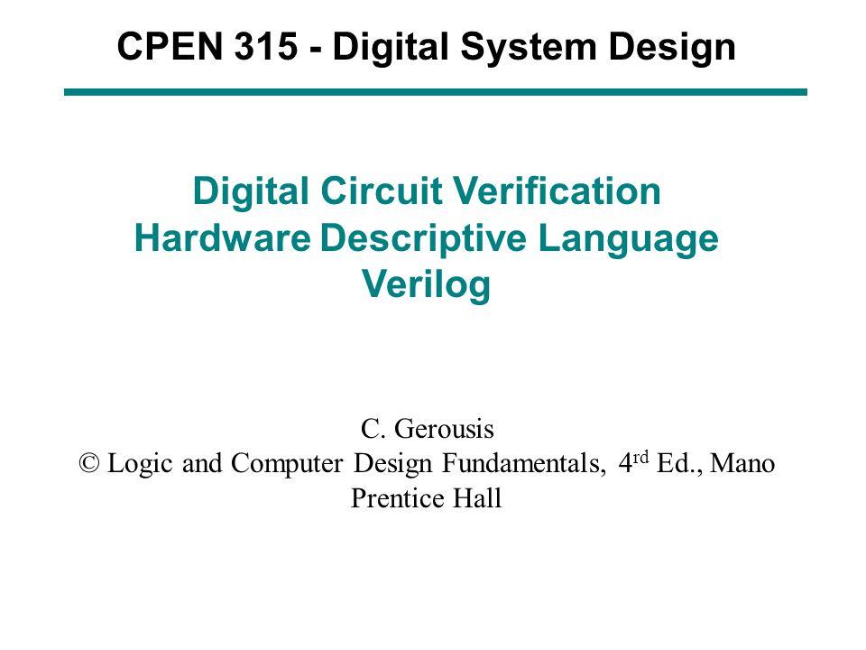 CPEN 315 - Digital System Design
