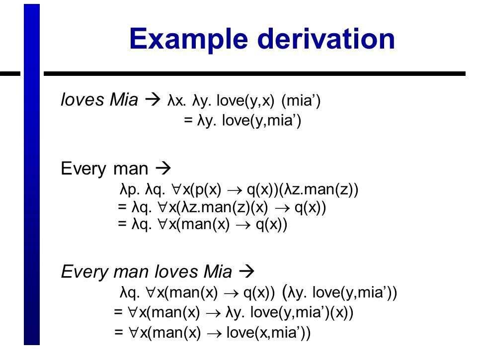 Example derivation loves Mia  λx. λy. love(y,x) (mia') = λy. love(y,mia')