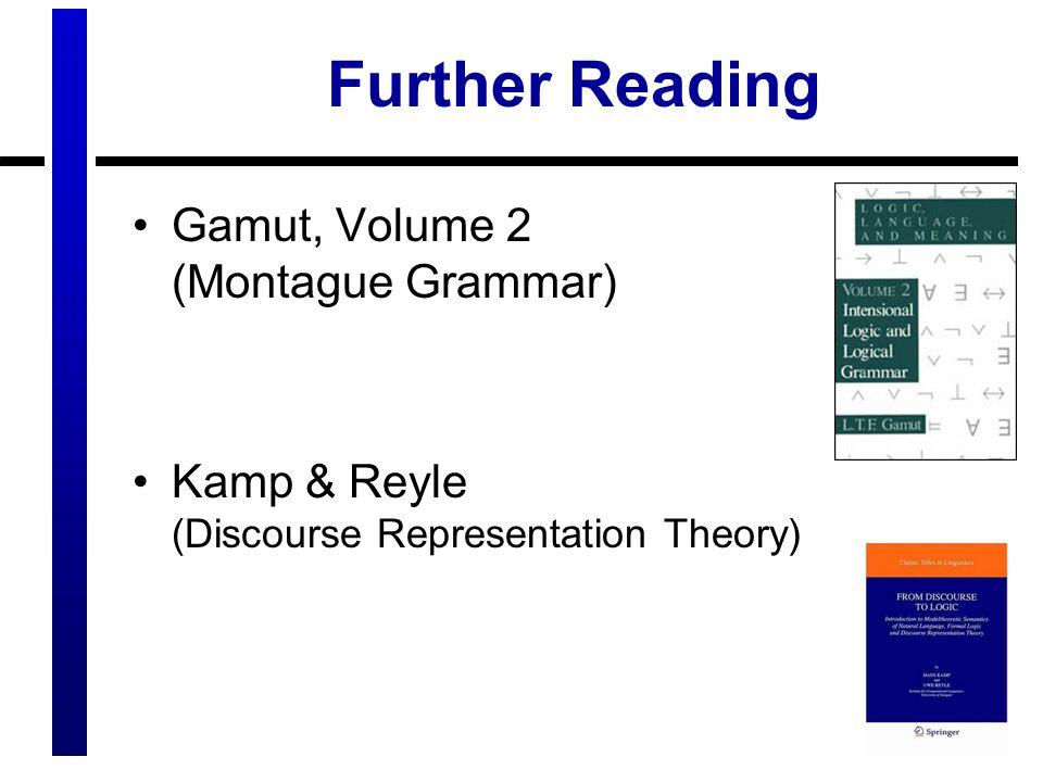 Further Reading Gamut, Volume 2 (Montague Grammar)