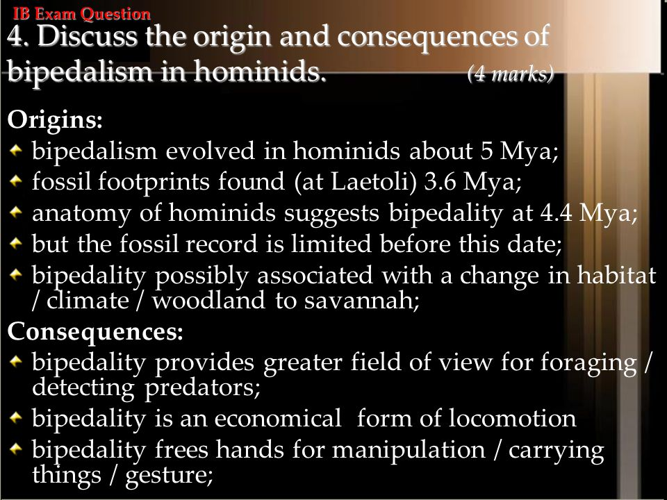 IB Exam Question 4. Discuss the origin and consequences of bipedalism in hominids. (4 marks)