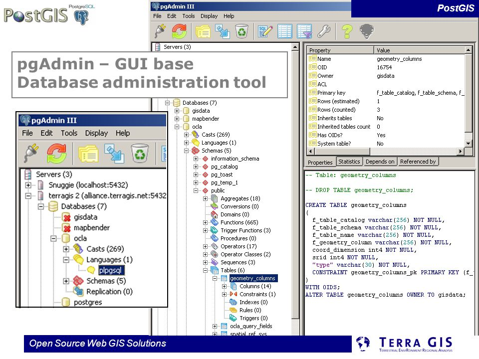pgAdmin – GUI base Database administration tool