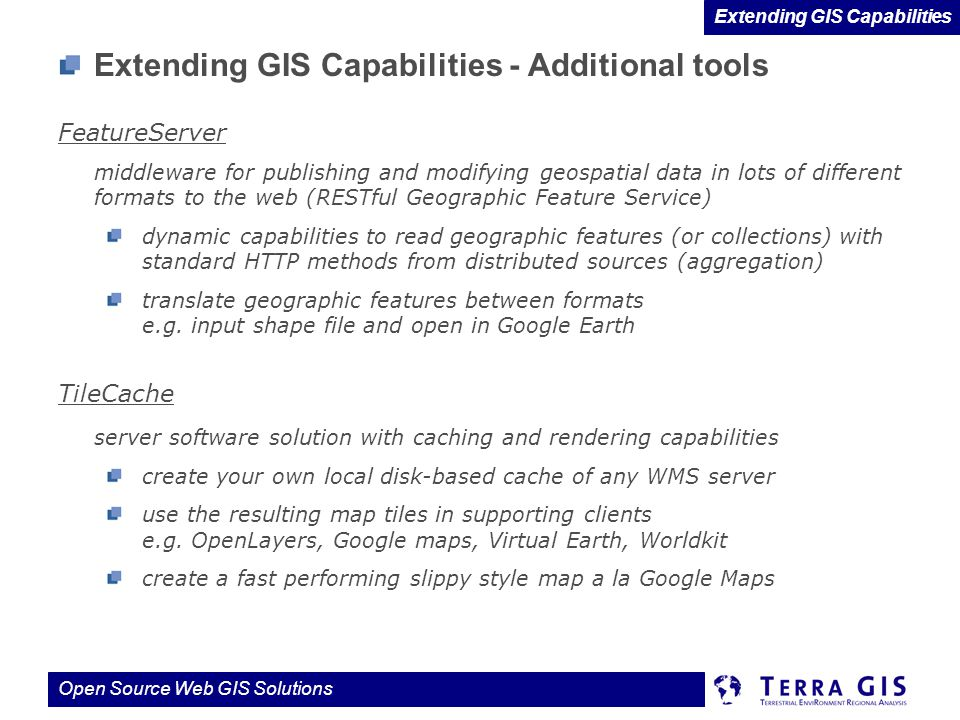 Extending GIS Capabilities - Additional tools