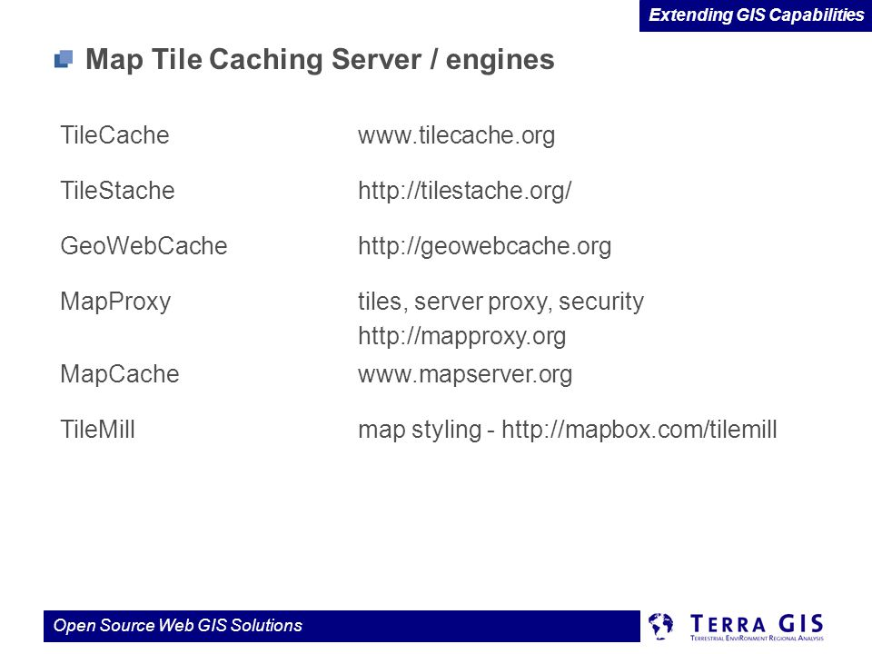 Map Tile Caching Server / engines
