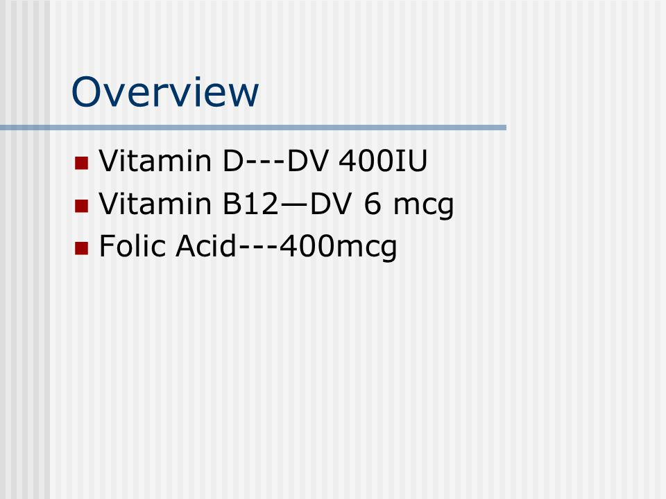 Overview Vitamin D---DV 400IU Vitamin B12—DV 6 mcg Folic Acid---400mcg