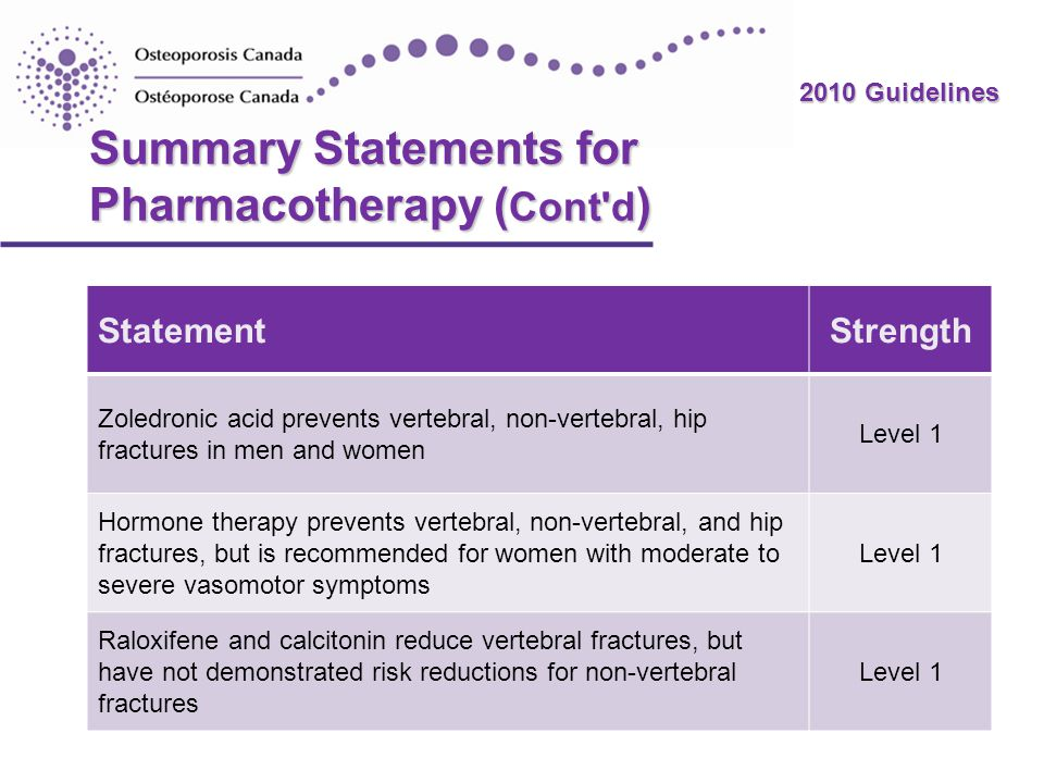 Summary Statements for Pharmacotherapy (Cont d)