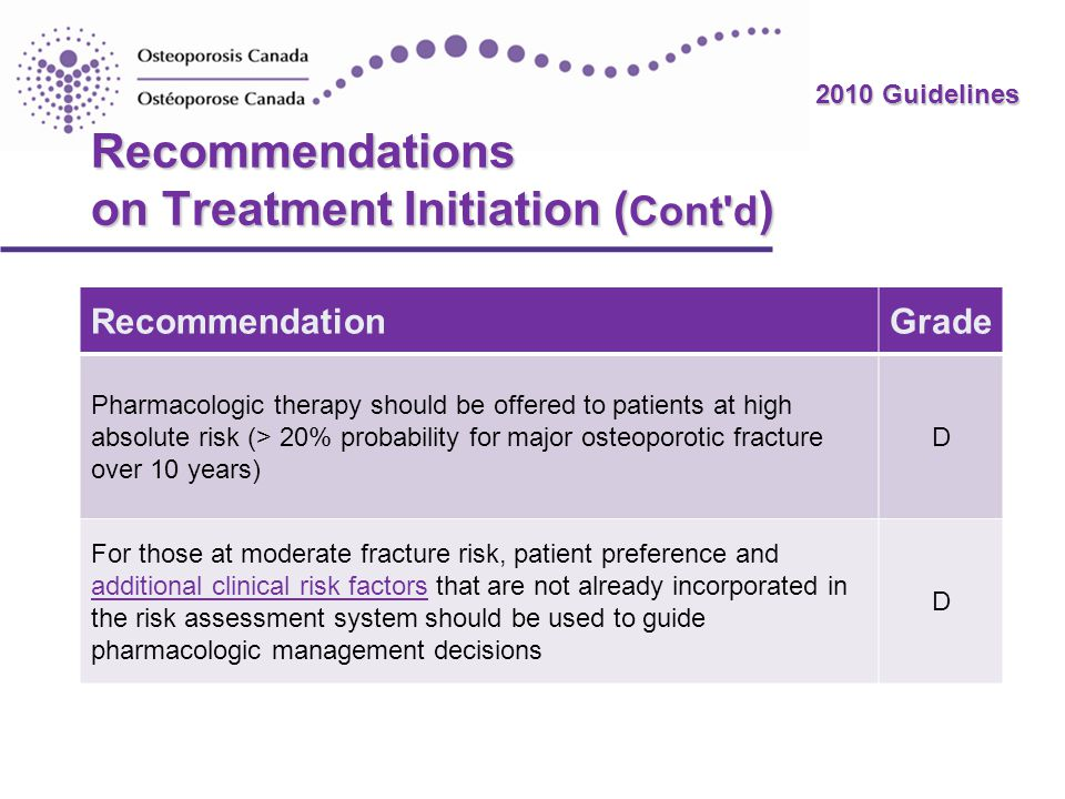 Recommendations on Treatment Initiation (Cont d)