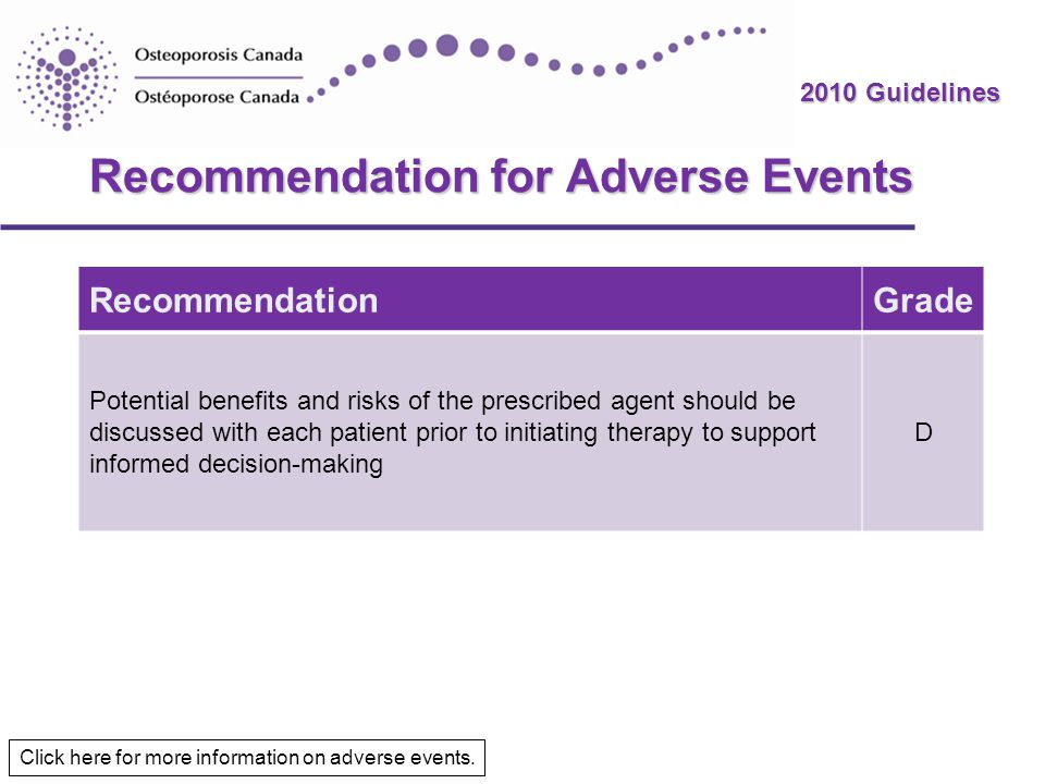 Recommendation for Adverse Events