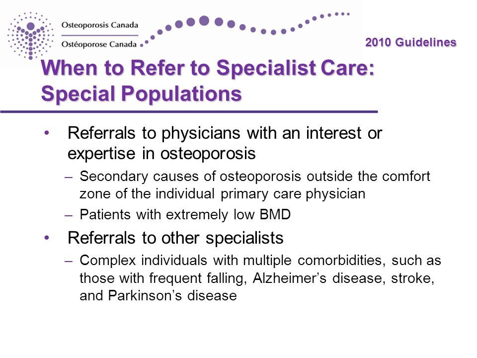 When to Refer to Specialist Care: Special Populations