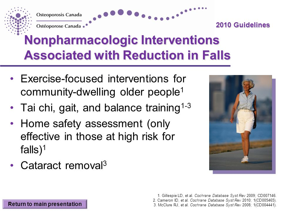 Nonpharmacologic Interventions Associated with Reduction in Falls