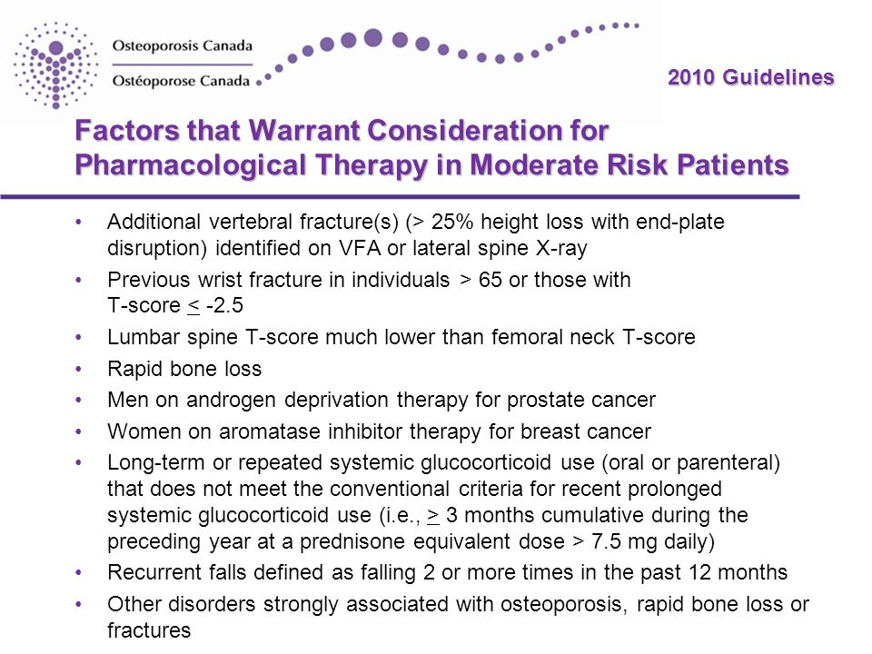 Factors that Warrant Consideration for Pharmacological Therapy in Moderate Risk Patients