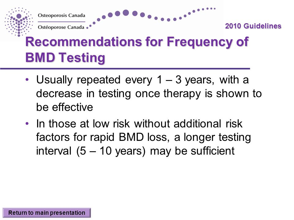 Recommendations for Frequency of BMD Testing