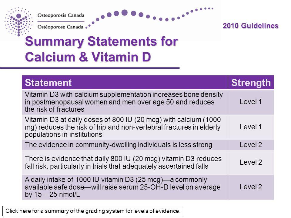 Summary Statements for Calcium & Vitamin D