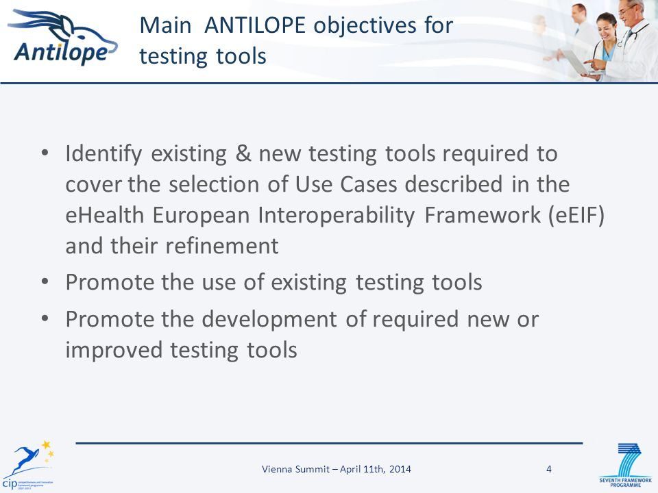 Main ANTILOPE objectives for testing tools