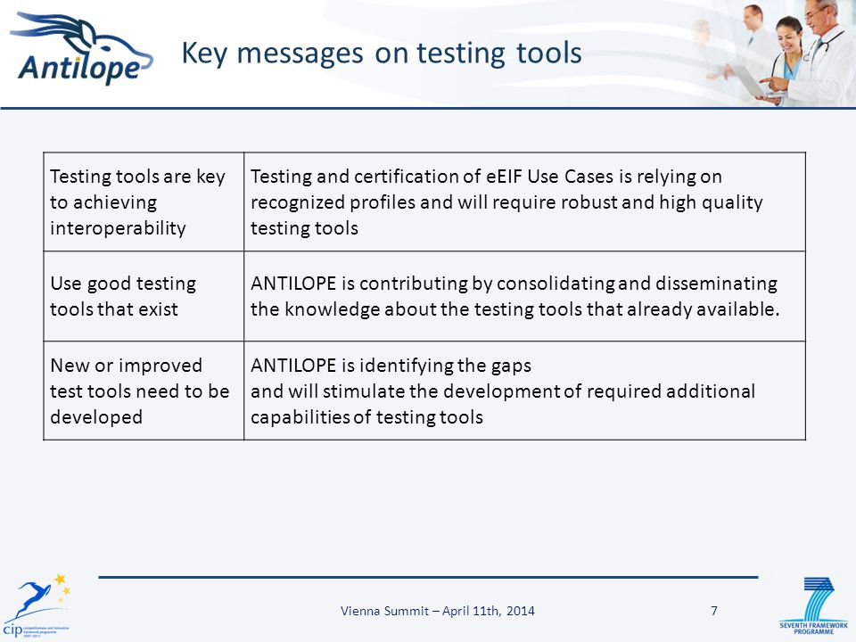 Key messages on testing tools