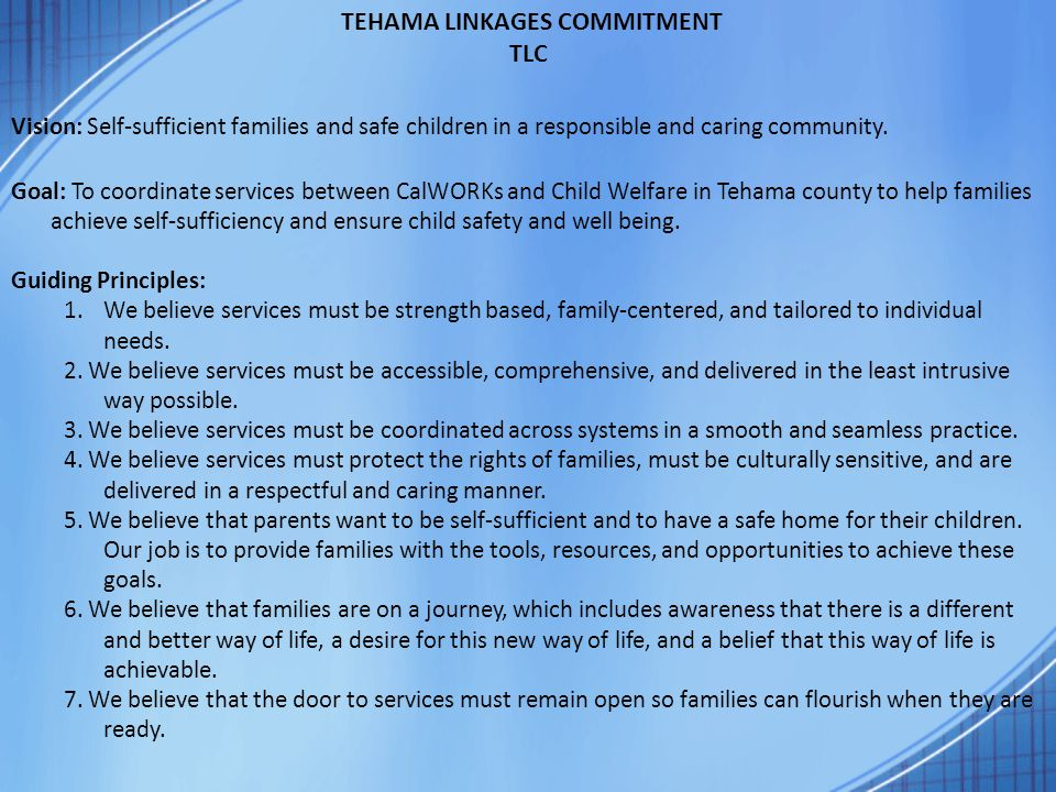 TEHAMA LINKAGES COMMITMENT