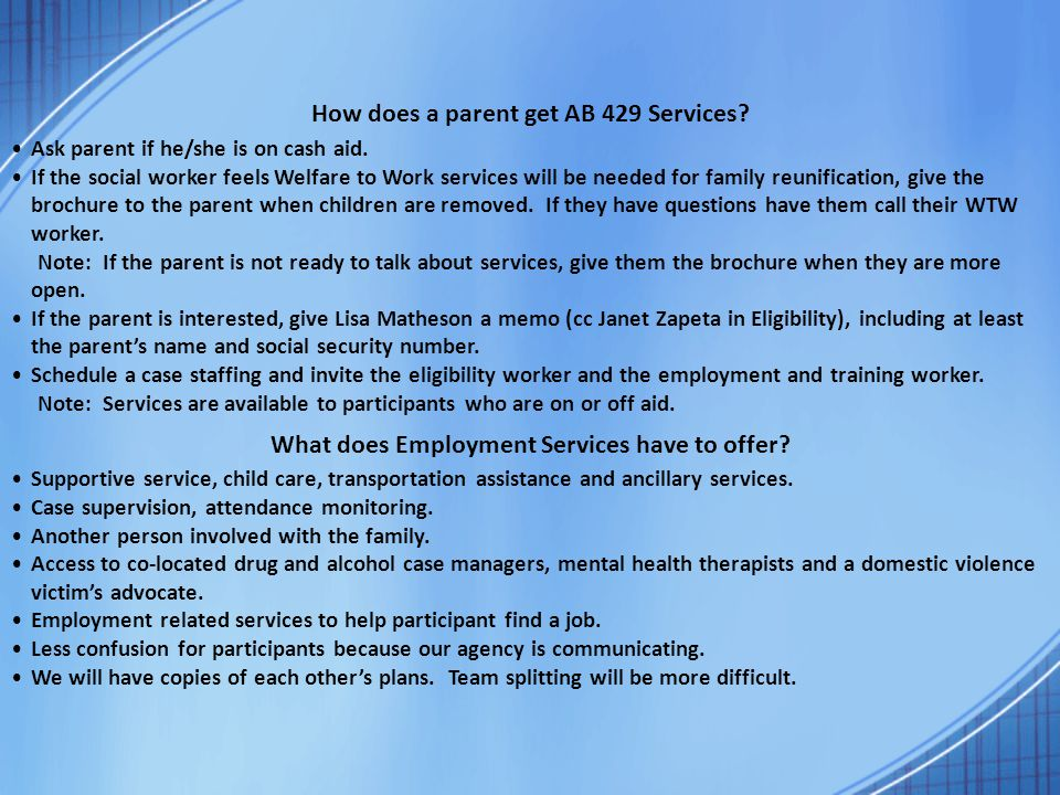 How does a parent get AB 429 Services