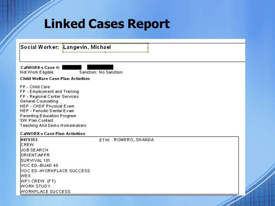 Linked Cases Report