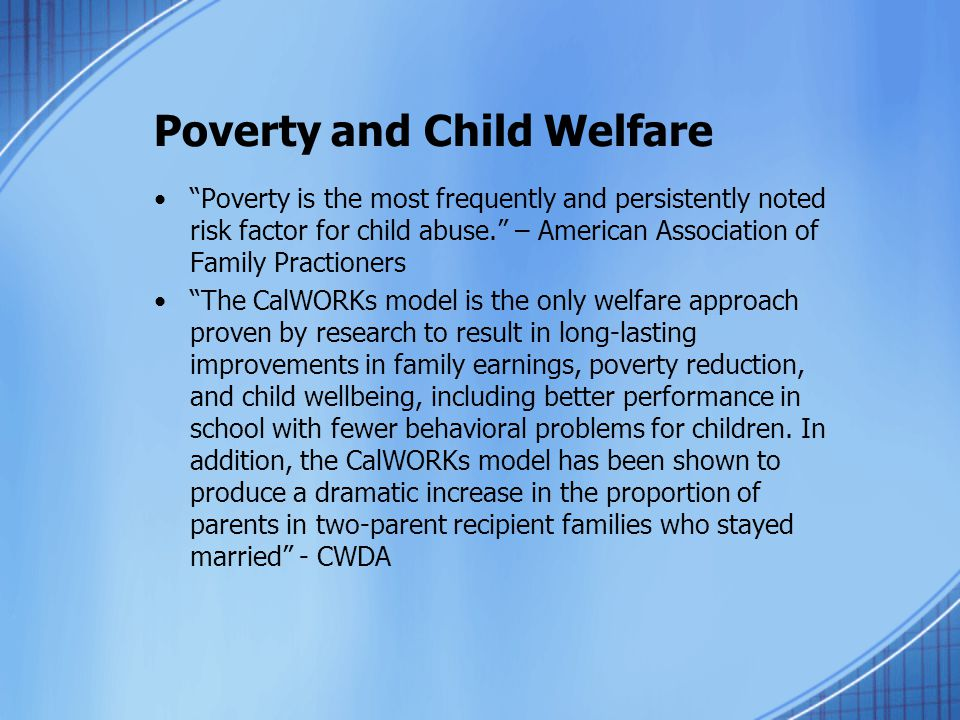 Poverty and Child Welfare